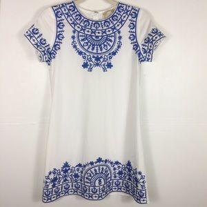 Alythea White Embroidery Sheath Mini Dress B6